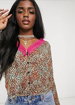 Motel deep plunge blouse in mesh leopard print with neon lace-Brown