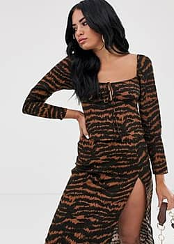 Motel long sleeve milkmaid top with tie front in tiger print-Brown