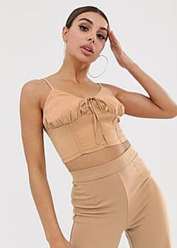 NaaNaa tie front crop top in light camel-Beige