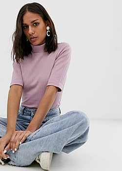 Native Youth high neck top in rib-Pink