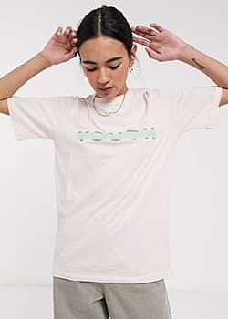 Native Youth relaxed t-shirt with youth front logo in organic cotton-Pink