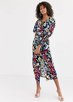 Never Fully Dressed wrap front tie front blouse in neon floral print-Cream