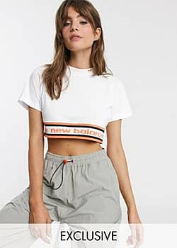 New Balance Utility Pack cropped t-shirt in white exclusive at ASOS