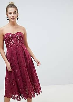New Look lace bandeau midi dress-Red