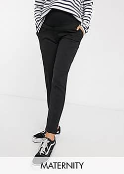New Look over bump stretch trousers in black
