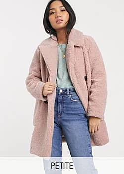 New Look borg coat in pale pink