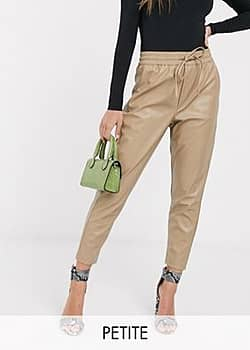 New Look leather look jogger in cream