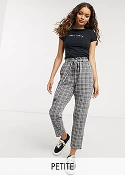 New Look tie waist check trouser in grey