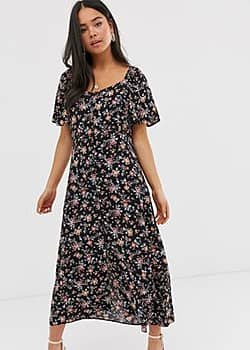 New Look square neck maxi dress in black floral
