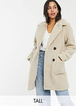 New Look button front borg coat in cream