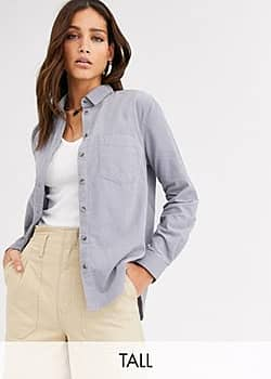 New Look cord shirt in light grey-Black