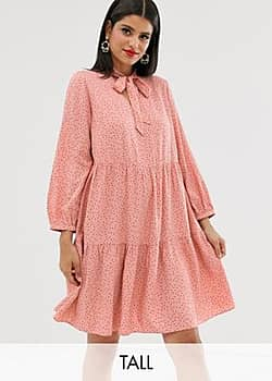 New Look pussey bow smock dress in pink polka dot