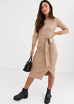 New Look tie waist maxi knitted dress in oatmeal-Cream