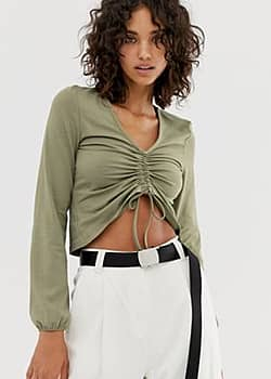 Noisy May ruched front cropped blouse-Green