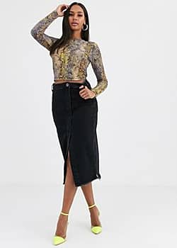 One Teaspoon denim midi skirt with raw hem-Black
