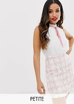 Paper Dolls 2 in 1 mini dress with chiffon top and checked skirt in pink
