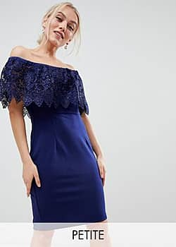 Paper Dolls lace overlay bardot pencil dress in navy