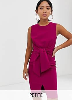 Paper Dolls sleeveless knot front pencil dress in raspberry-Pink