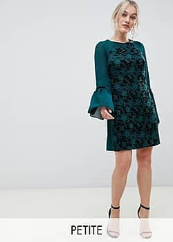Paper Dolls velvet lace shift dress with sheer sleeve in emerald-Green