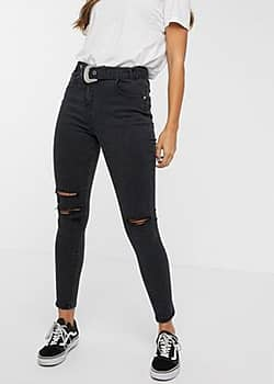 Parisian belted jeans in charcoal-Grey
