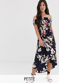 Parisian off shoulder midi dress in floral print-Navy