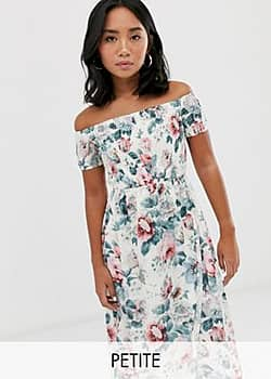 Parisian off shoulder midi dress in floral print-White