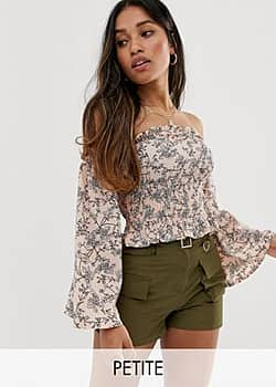 Parisian off shoulder shirred top in ditsy floral-Pink