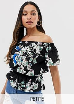 Parisian off shoulder top in floral print-Multi