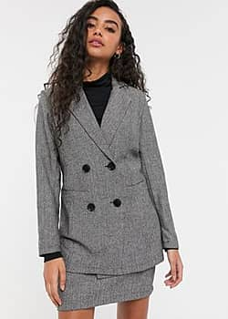Parisian tailored longline double breasted blazer in grey