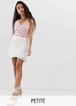 Parisian wrap front skirt in broderie anglaise-White