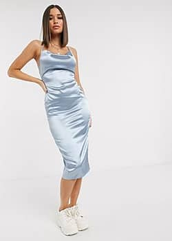 Parisian satin cami midi dress in blue