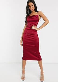 Parisian satin cami midi dress with cowl neck-Red