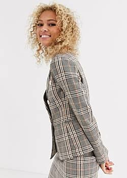 Parisian tailored double breasted blazer with gold buttons in check-Multi