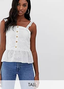 Parisian button front cami top in broderie anglaise-White