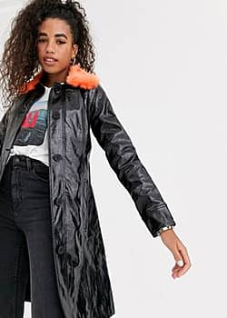 Pepe Jeans faux leather trench coat with faux fur collar-Black
