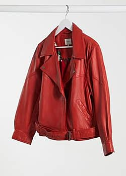 Pepe Jeans nicole biker jacket in red