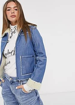 Pepe Jeans Saffie shearling collar denim jacket-Blue