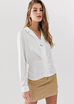 Pimkie v neck blouse with ruche detail in white
