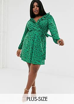 Pink Clove wrap front mini dress with balloon sleeve in green scatter print