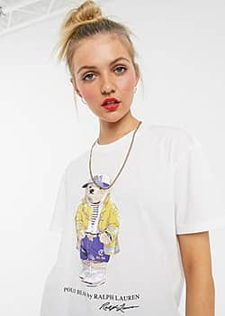 Polo Ralph Lauren teddy with cap t-shirt in white