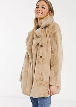 QED London double breasted faux fur coat in biscuit-Beige