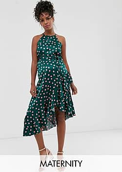 Queen Bee Maternity high neck midaxi dress in contrast polka-Multi