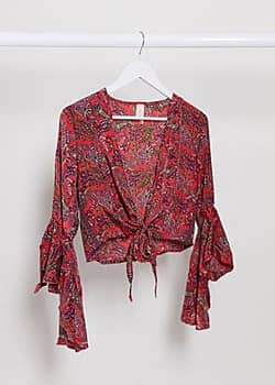 Raga lasting passion tie front crop top in red floral
