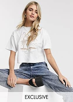 Reclaimed Vintage inspired crop t-shirt with western line print in white
