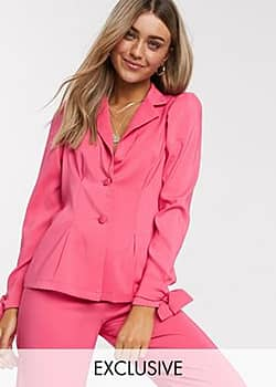 Reclaimed Vintage inspired waisted blazer with puff sleeve co ord-Pink
