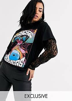 Rokoko fortune teller graphic t-shirt with lace long sleeves-Black