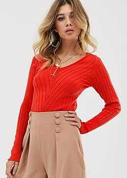 Rokoko knitted long sleeve top-Red