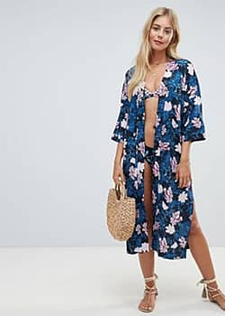 Seafolly Moonflower kimono in blue and pink floral-Multi