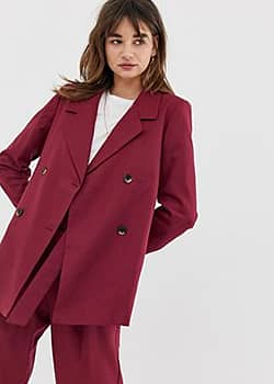 Selected Margot double breasted longline co-ord blazer in wool blend-Red