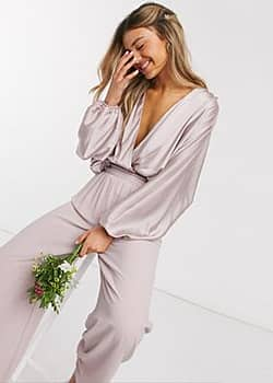 TFNC bridesmaids long sleeve sateen wrap front top in pink